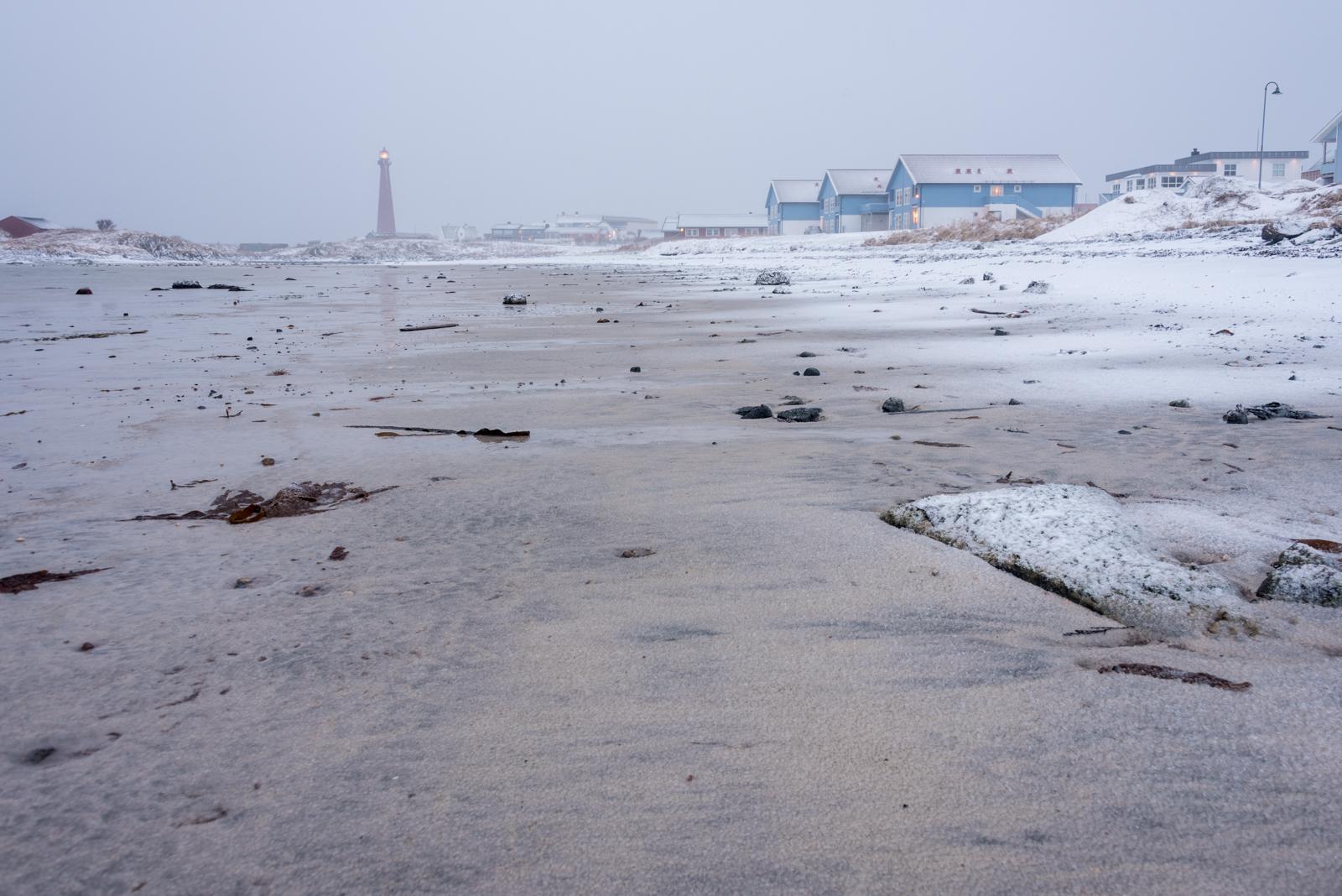 Spiaggia di Andenes con tempesta